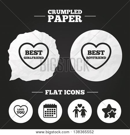 Crumpled paper speech bubble. Valentine day love icons. Best girlfriend and boyfriend symbol. Couple lovers sign. Paper button. Vector