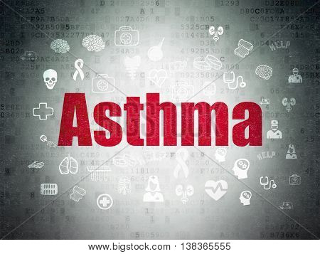 Healthcare concept: Painted red text Asthma on Digital Data Paper background with  Hand Drawn Medicine Icons