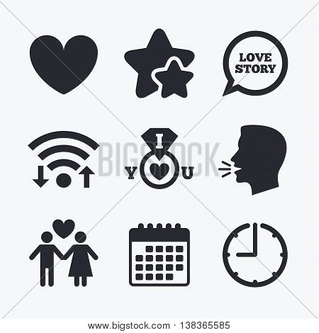Valentine day love icons. I love you ring symbol. Couple lovers sign. Love story speech bubble. Wifi internet, favorite stars, calendar and clock. Talking head. Vector