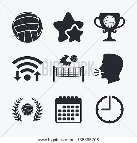 Volleyball and net icons. Winner award cup and laurel wreath symbols. Beach sport symbol. Wifi internet, favorite stars, calendar and clock. Talking head. Vector