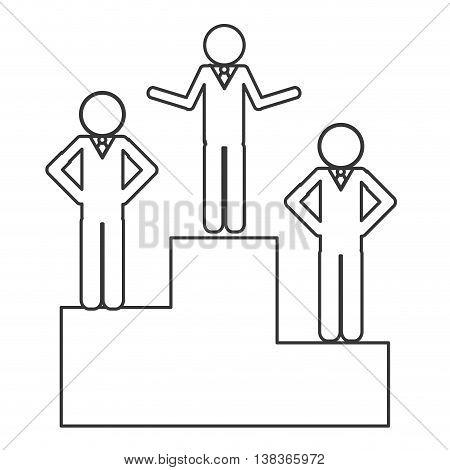 flat design businessmen on podium icon vector illustration