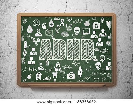 Healthcare concept: Chalk White text ADHD on School board background with  Hand Drawn Medicine Icons, 3D Rendering