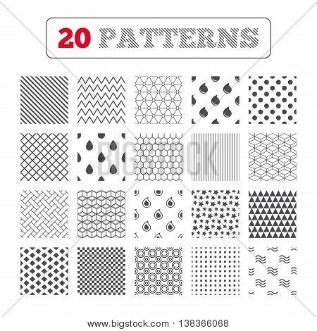 Ornament patterns, diagonal stripes and stars. Water drop icons. Tear or Oil drop symbols. Geometric textures. Vector