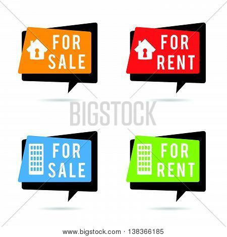 house for rent and sale set illustration in colorful