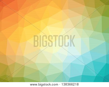 Rainbow orange blue gradient polygon shaped background.