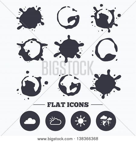 Paint, coffee or milk splash blots. Weather icons. Cloud and sun signs. Storm or thunderstorm with lightning symbol. Gale hurricane. Smudges splashes drops. Vector