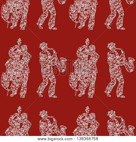 Hand Drawing. Illustration Of Musicians And Flowers. Seamless Pattern.