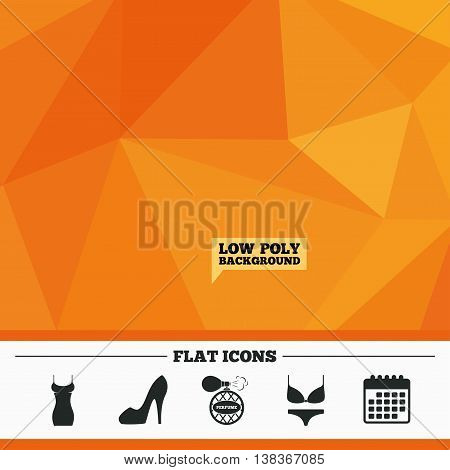 Triangular low poly orange background. Women dress icon. Sexy shoe sign. Perfume glamour fragrance symbol. Intimates underwear. Calendar flat icon. Vector