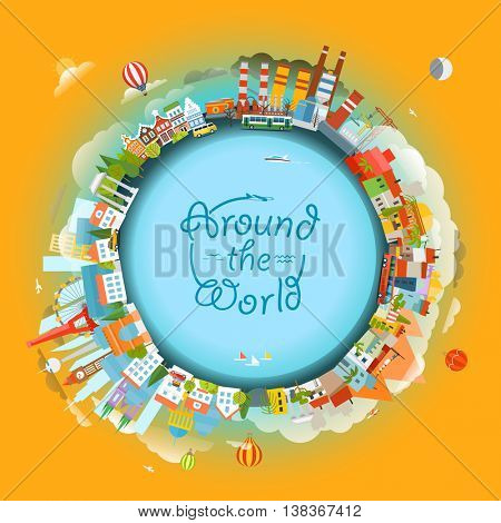 The Earth and different locations. Travel concept vector illustration. Around the world