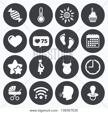 Calendar, wifi and clock symbols. Like counter, stars symbols. Pregnancy, maternity and baby care icons. Candy, baby carriage and pacifier signs. Footprint, cake and thermometer symbols. Talking head, go to web symbols. Vector