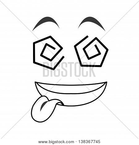 flat design crazy tongue out emoticon face icons vector illustration