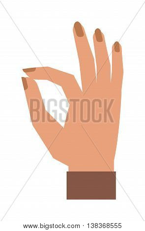 Okey hand success symbol, ok hand yes agreement. Ok hand signal business human agree. Best approval accept. Silhouette of hand showing symbol Ok finger thumb vector illustration.