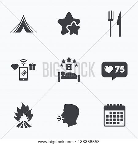 Food, sleep, camping tent and fire icons. Knife and fork. Hotel or bed and breakfast. Road signs. Flat talking head, calendar icons. Stars, like counter icons. Vector