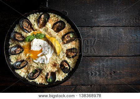 Cooked Mussels With Sauce And Rice