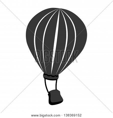 Hot air balloon flying icon in black and white , vector illustration graphic design.