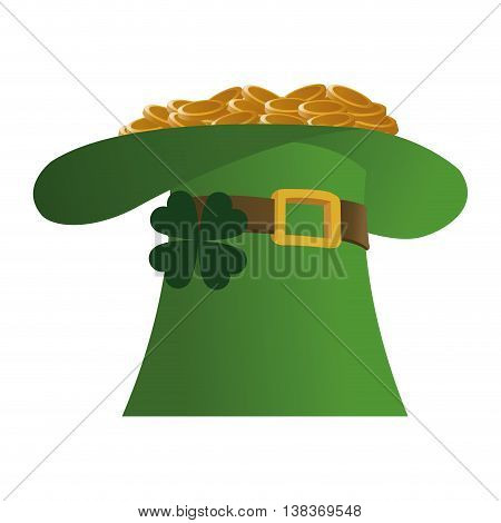 flat design leprechaun hat with gold coins icon vector illustration