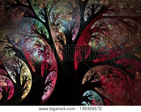Abstract curly colourful trees with black tronks