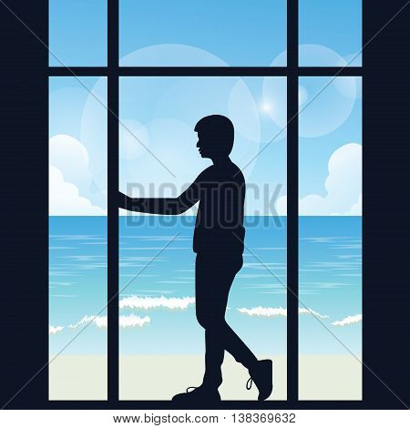 man boys silhouette alone looking to the sea open area from big window in the dark thinking vector