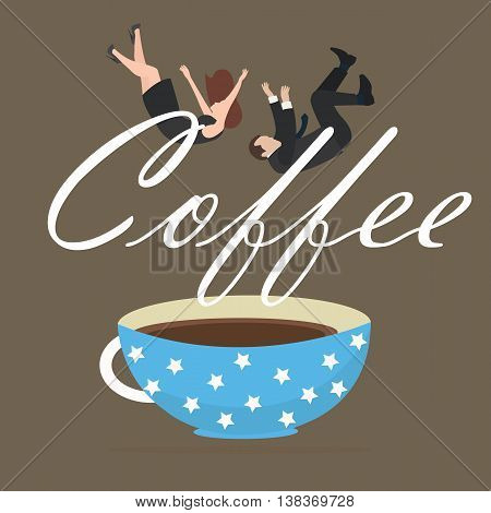 coffee addict people business fall into cup vector