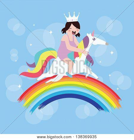 kids girls riding horse unicorn fly around rainbow kids imagination vector