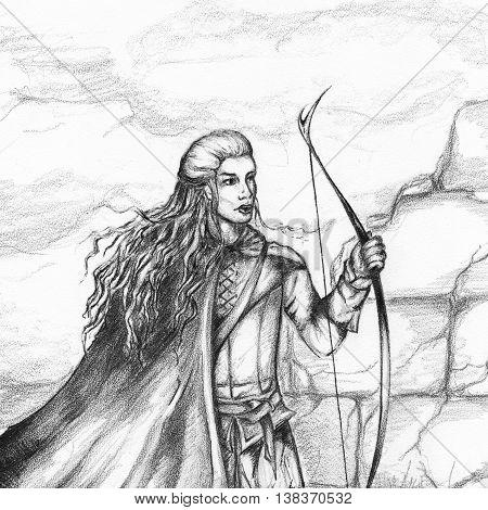 Medieval archer hunter bowman monochrome pencil sketch