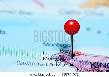 Montpelier pinned on a map of Jamaica