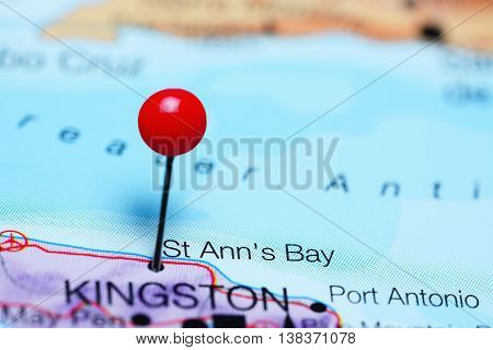 St Anns Bay pinned on a map of Jamaica