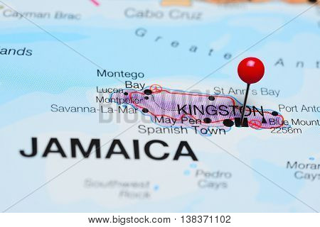 Kingston pinned on a map of Jamaica