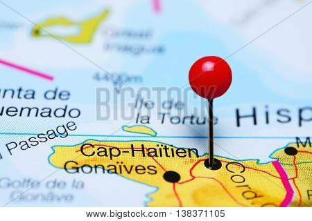 Cap-Haitien pinned on a map of Haiti