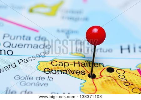 Gonaives pinned on a map of Haiti