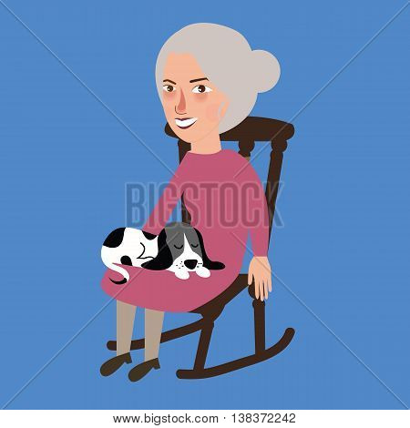 old lady woman senior with cat sleeping in her lap sitting in chair vector