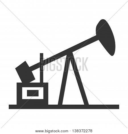 Oil pump silhouette in black and white colors, vector illustration graphic.
