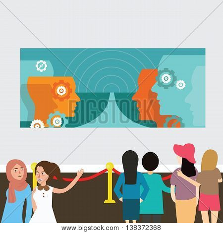 modern art exhibition gallery painting people looking vector