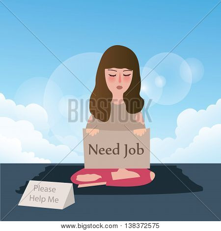 woman needs job asking for help written in cardboard vector