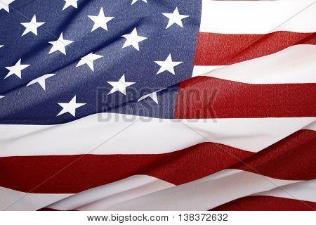 Closeup of ripple American flag