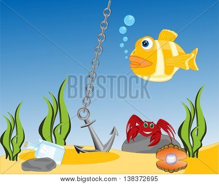 The Bottom of the ocean with sea inhabitant.Vector illustration