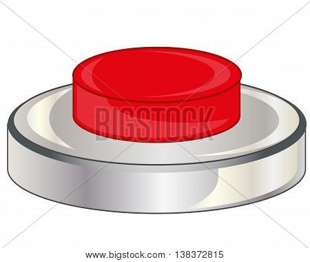Vector illustration of the red button on white background is insulated