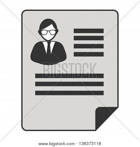 Businessman cv profile in black and white colors, vector illustration graphic.
