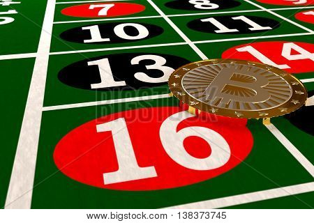 closeup of bitcoin on the roulette table, 3d rendering