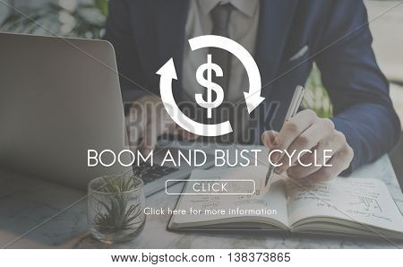 Boom Bust Cycle Economy Financial Concept
