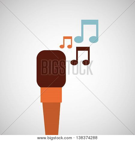 microphone music note singer isolated, vector illustration eps10