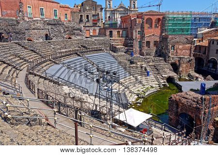 Beautiful view of Roman amphitheatre Catania, Sicily. ITALY.