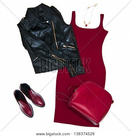 Fashion still life Women's clothing Black leather jacket red dress backpack shoes necklace Top view