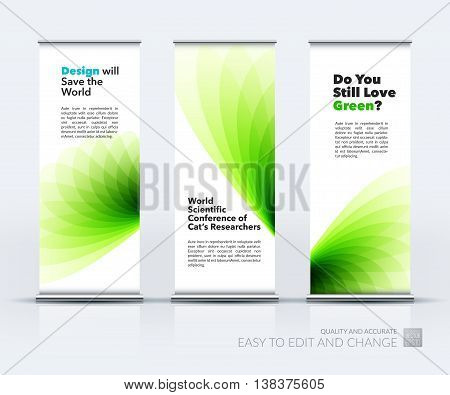 Vector set of modern Roll Up Banner Stand Design with eco soft shapes and flower wave gradient elements for business and beauty with beautiful overlap effect. Corporate vector vertical flyer.