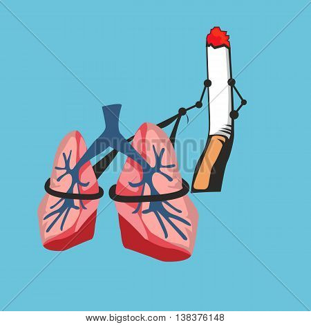 smoke cigarette risk your lungs vector funny crtoon illustration