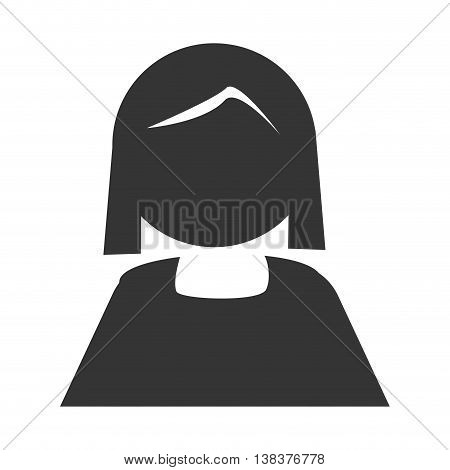 Grandmother in pictogram design, isolated flat icon with black and white colors.