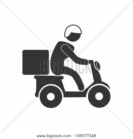 Courier on motorcycle in black and white colors, vector illustration graphic.
