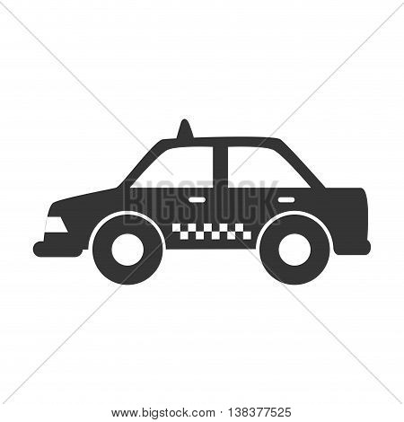 Taxi cab in black and white icon, isolated flat icon vector illustration.
