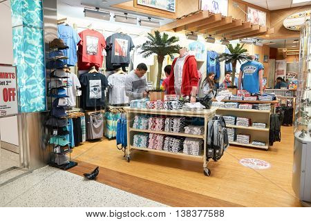 NEW YORK - MARCH 22, 2016: inside JFK Airport. John F. Kennedy International Airport is a major international airport located in the Queens borough of New York City.