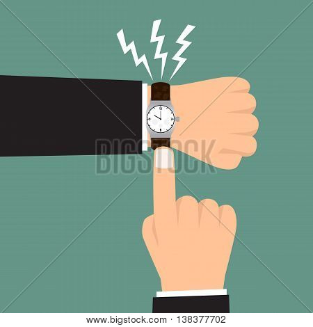 Time management. hand show a deadline. vector illustration.